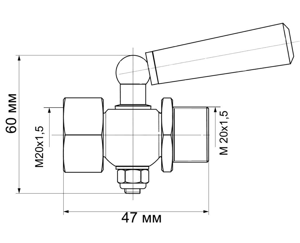 чертеж трехходового крана